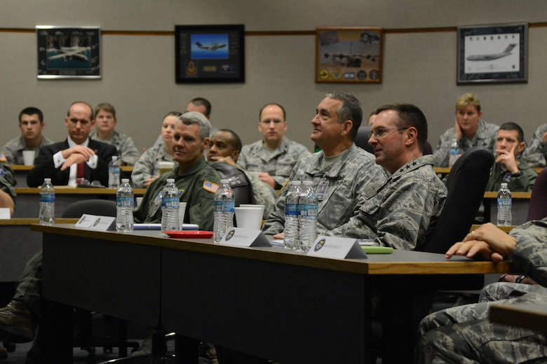 (From right) U.S. Air Force Lt. Gen. Joseph L. Lengyel, vice chief of the National Guard Bureau, U.S. Army Maj. Gen. Stephen Danner, adjutant general of the Missouri National Guard, and U.S. Air Force Maj. Gen. Brian G. Neal, special assistant to the director, Air National Guard, for international affairs, listen to a briefing at Rosecrans Air National Guard Base, Mo., Jan. 29, 2015. The generals attended the 33rd Annual Tactics and Intelligence Symposium hosted by the Advanced Airlift Tactics Training Center. (U.S. Air National Guard photo by Tech. Sgt. Michael Crane/Released)