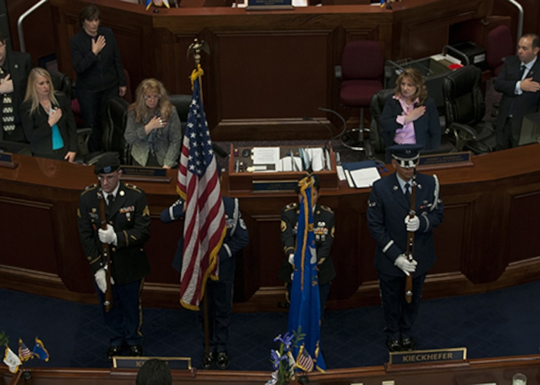 (From left) Sgt. Robert Green, Master Sgt. Suzanne Connell, Staff Sgt. Rose Kemp and Airman 1st Class David Almada at the opening ceremonies for Nevada's 78th Legislative Session in the Senate Chambers, Carson City on Feb. 2nd just after noon. The Guardsman formed a joint color guard to represent the Nevada National Guard for the ceremony.