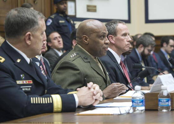 DIA Director Marine Lt. Gen. Vincent Stewart, center, testified before the House Armed Services Committee Feb. 3 about worldwide threats. Stewart joined Army Lt. Gen. William Mayville, Joint Staff director for operations, and Mark Chandler, acting director for intelligence for the Joint Staff, for the open and closed sessions.