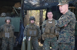 Commandant of the Marine Corps Gen. Joseph F. Dunford, Jr., right, speaks to Marines of Battery A in between fire missions during their final field exercise at Range GP 13 aboard Marine Corps Base Camp Lejeune, North Carolina, Feb. 3, 2015. Dunford visited GCEITF Marines to observe their training and discuss the future of the Corps, and how the Marines are helping shape a better Marine Corps. From October 2014 to July 2015, the GCEITF will conduct individual and collective level skills training in designated ground combat arms occupational specialties in order to facilitate the standards based assessment of the physical performance of Marines in a simulated operating environment performing specific ground combat arms tasks. (U.S. Marine Corps photo by Sgt. Alicia R. Leaders/Released)