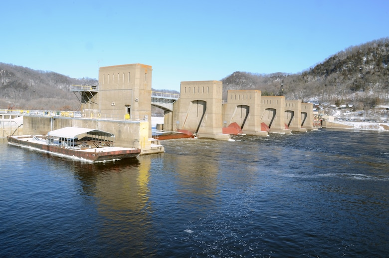 Dam 5A on the Mississippi River. To the far right is a temporary ramp that was constructed to load barges to transport large or heavy material across the Mississippi River to the lock chamber for the Lock and Dam 5A Winter Maintenance. Lock 5A was closed to navigation on Dec. 1, 2014, in order to complete the necessary work by March 9, 2015.