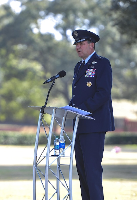 Lt. Gen. Brad Heithold, Air Force Special Operations Command commander, speaks about the mission of Spirit 03 during a remembrance ceremony at Barrancas National Cemetery on Naval Air Station Pensacola, Fla., Jan. 31, 2015. Losing Spirit 03 and its crew members was the largest single loss by any Air Force unit during Operation Desert Storm. (U.S. Air Force photo/Airman 1st Class Jeff Parkinson)