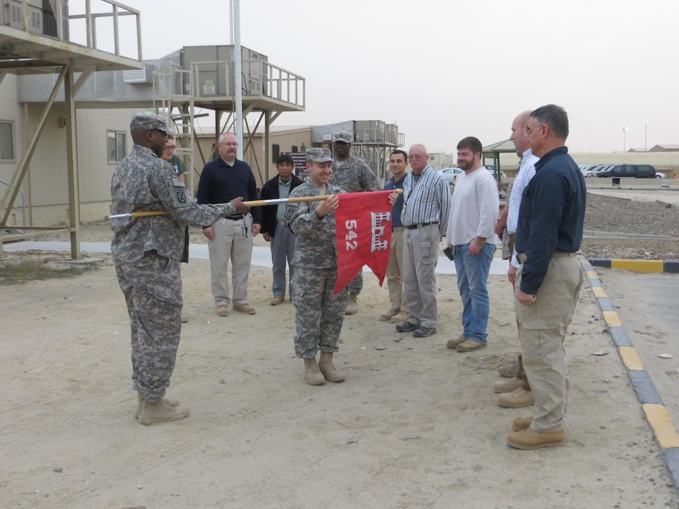 542nd FEST-A presents their guidon for the first time near Camp Arifjan, Kuwait.