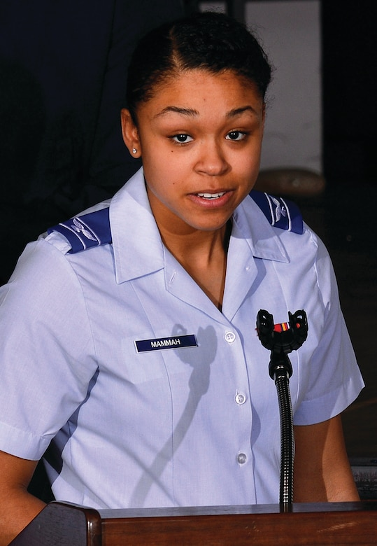 "Cadet Candidate Monica Mammah conducts a portion of the Air Force Academy Preparatory School's ""It's On Us"" campaign in the Community Center Theater here Tuesday. Mammah is one of 13 cadet candidates who took a pledge alongside the Prep School's senior leaders to recognize sexual assault and create an environment where it is not tolerated. (U.S. Air Force photo/Jason Gutierrez)"