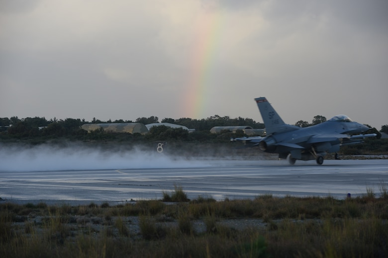A U.S. Air Force F-16 Fighting Falcon fighter aircraft assigned to the 480th Expeditionary Fighter Squadron takes off during a flying training deployment on the flightline at Souda Bay, Greece, Feb. 3, 2015. The aircraft conducted the training as part of the bilateral deployment between the Greek and U.S. Air Forces to develop interoperability and cohesion between the two NATO partners. (U.S. Air Force photo by Staff Sgt. Joe W. McFadden/Released)