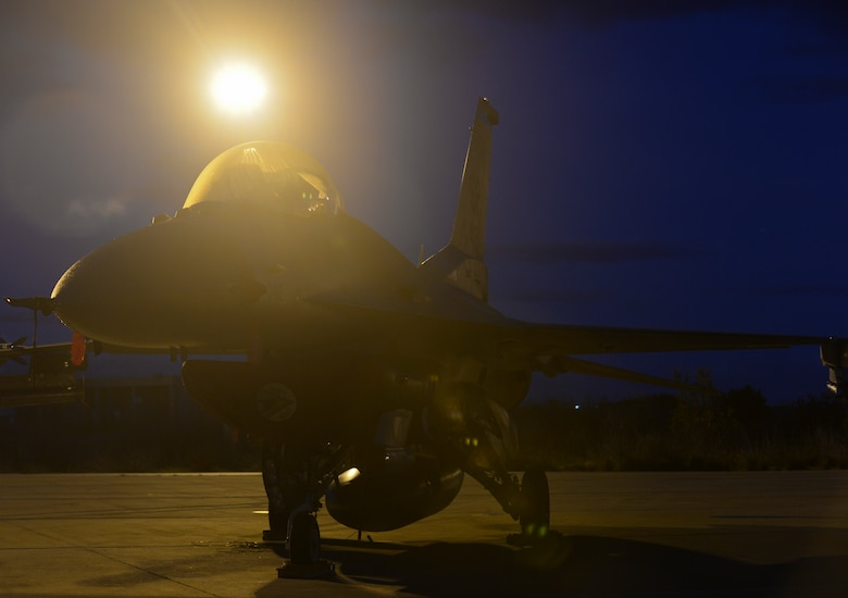 A U.S. Air Force F-16 Fighting Falcon fighter aircraft assigned to the 480th Expeditionary Fighter Squadron remains parked on the flightline during a flying training deployment at Souda Bay, Greece, Jan. 30, 2015. Eighteen F-16s from the 52nd Fighter Wing at Spangdahlem Air Base, Germany, participated in the deployment, which marked the third of its kind on the island since 2014. (U.S. Air Force photo by Staff Sgt. Joe W. McFadden/Released)