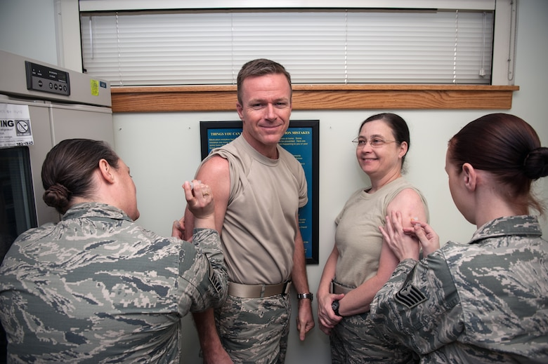 Airmen assigned to Kunsan Air Base, Republic of Korea, receive their Japanese encephalitis vaccine in 2015. Diseases like Japanese encephalitis are rare in the U.S., but common some places overseas. Vaccines are a vital part of individual medical readiness. (U.S. Air Force photo by Senior Airman Taylor Curry)