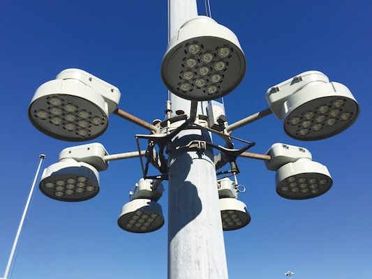 An array of LED high mast lights are installed at Marmet Locks and Dam.
