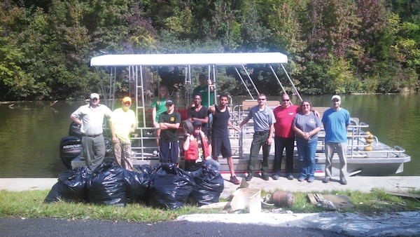 Volunteers offered the used of their boats to gather trash at Dewey Lake.