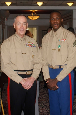 Sgt Swan was awarded the Navy and Marine Corps Commendation Medal by the Commandant of the Marine Corps, General Dunford