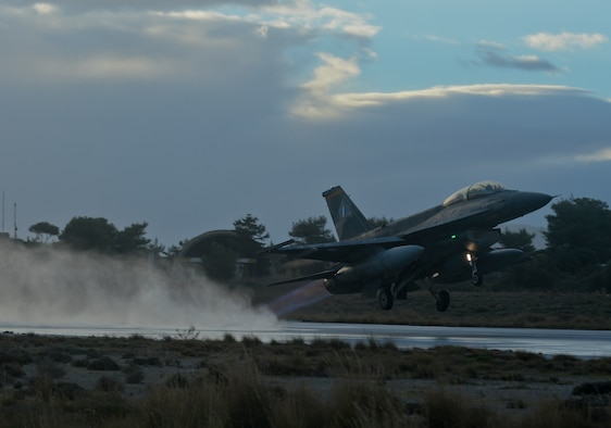 A Hellenic air force F-16 Fighting Falcon takes off Feb. 3, 2015, from the flightline at Souda Bay, Greece, during a flying training deployment. The aircraft conducted the training as part of the bilateral deployment between the Hellenic and U.S. air forces to develop interoperability and cohesion between the two NATO partners. The F-16 is assigned to the Hellenic air force's 340th Fighter Squadron. (U.S. Air Force photo/Staff Sgt. Joe W. McFadden)