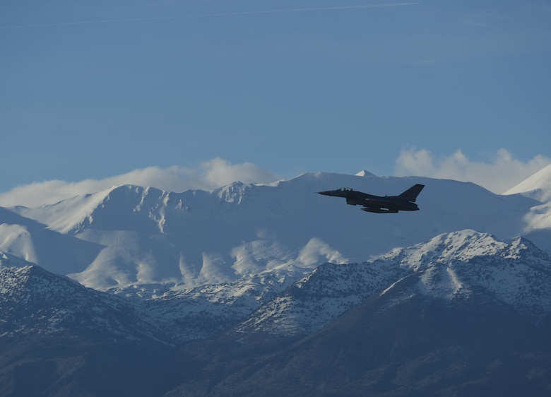 An F-16 Fighting Falcon takes off during a flying training deployment Jan. 30, 2015, at Souda Bay, Greece. The aircraft conducted the training as part of the bilateral deployment between the Greek and U.S. air forces to develop interoperability and cohesion between the two NATO partners. The F-16 is assigned to the 480th Expeditionary Fighter Squadron. (U.S. Air Force photo/Staff Sgt. Joe W. McFadden)