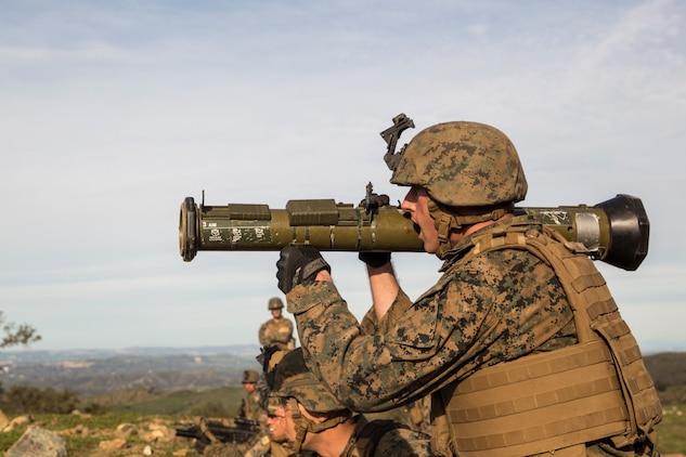 U.S. Marine Lance Cpl. Alex Hunt engages a target with an antitank missile trainer during squad tactics and maneuver training aboard Camp Pendleton, Calif., Jan. 28, 2015. Hunt is a rifleman with Kilo Company, Battalion Landing Team 3rd Battalion, 1st Marine Regiment, 15th Marine Expeditionary Unit. As the ground combat element for the 15th MEU, BLT 3/1 is preparing for their upcoming deployment by enhancing their combat skills and learning to work as a cohesive unit. (U.S. Marine Corps Photo by Sgt. Emmanuel Ramos/Released)
