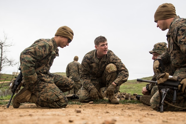 U.S. Marine Lance Cpl. Alexander Dalziel, middle, talks through his plan during squad tactics and maneuver training aboard Camp Pendleton, Calif., Jan. 29, 2015. Dalziel is a team leader with Kilo Company, Battalion Landing Team 3rd Battalion, 1st Marine Regiment, 15th Marine Expeditionary Unit. As the ground combat element for the 15th MEU, BLT 3/1 is preparing for their upcoming deployment by enhancing their combat skills and learning to work as a cohesive unit. (U.S. Marine Corps Photo by Sgt. Emmanuel Ramos/Released)