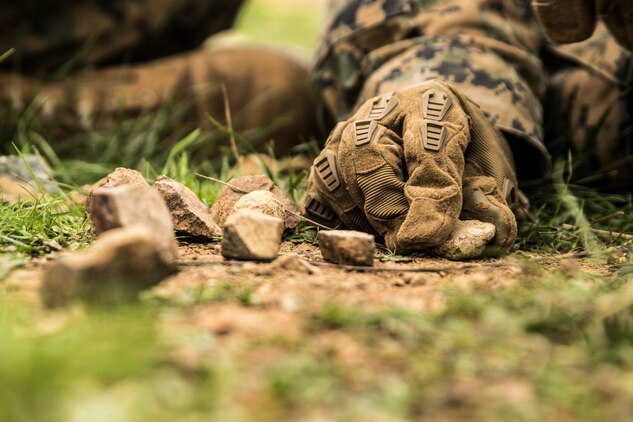 U.S. Marine Lance Cpl. Alexander Dalziel uses rocks to illustrate his plan during squad tactics and maneuver training aboard Camp Pendleton, Calif., Jan. 29, 2015. Dalziel is a team leader with Kilo Company, Battalion Landing Team 3rd Battalion, 1st Marine Regiment, 15th Marine Expeditionary Unit. As the ground combat element for the 15th MEU, BLT 3/1 is preparing for their upcoming deployment by enhancing their combat skills and learning to work as a cohesive unit. (U.S. Marine Corps Photo by Sgt. Emmanuel Ramos/Released)