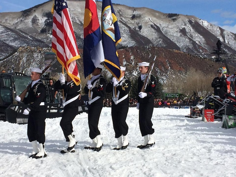 On the morning of Jan. 25, 2015, the Navy Information Operations Command Colorado Color Guard team was cordially invited to represent the United States Navy at the 2015 Winter X-Games held in Aspen, Colorado. The team was comprised of five Sailors: CTT1(IDW/SG) Christopher Guy, CTR2(IDW/SW) David Fiedler, CTT2(IDW/SW) Ian Evanskey, IT2(IDW) Christopher Dizon, and CTR3(IDW) Matthew Elder. The team honorably presented the colors during the playing of the National Anthem before the Snow Cross Finals event. The team flawlessly executed the detailed maneuvers despite the snowy terrain on a national televised event. With a successful representation of not only NAVIOCOM Colorado, but the United States Navy as a whole, these Sailors built camaraderie with the community and promoted Esprit de Corps. (courtesy photo)