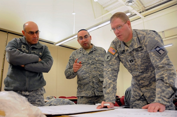 Chaplains, left to right, Army Lt. Col. Wilfredo Santiago, Air Force Lt. Col. Yaakov Bindell and Army Capt. Joshua Cox, from the Army Support Activity Fort Dix, the 108th Wing and the 72nd Field Artillery Brigade respectively, discuss their list of things for the lesson during the Traumatic Event Management Course Jan. 14, 2015, at Joint Base McGuire-Dix-Lakehurst, N.J. The Army's TEM course was a week long and focused on unit cohesion and effectiveness to help manage crisis situations. The course used group activities and role playing to reinforce the lessons. At the end of the week, the students are able to take what they learned and bring it back to their units. (U.S. Air National Guard Photo by Airman 1st Class Julia Pyun/Released)