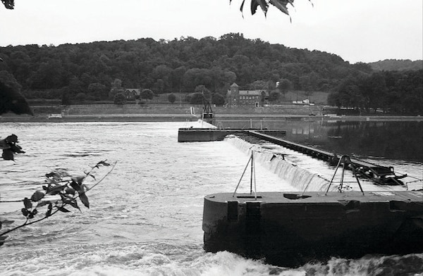 This archive photo offers a view of Lock 18, a wicket lock and dam on the Ohio River between Marietta, OH, and