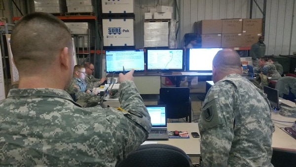 Members of the Missouri National Guard Homeland Response Force's logistical operations team recently conducted a simulated disaster response.  During the HRF S4 Logistics Workshop held at Lambert International Airport, Sgt. Jennifer Campbell, the team's Analog NCO, updated the site trackers to reflect the situation at each mock incident site. Trackers like these provide a backup should digital information be lost during a system outage.