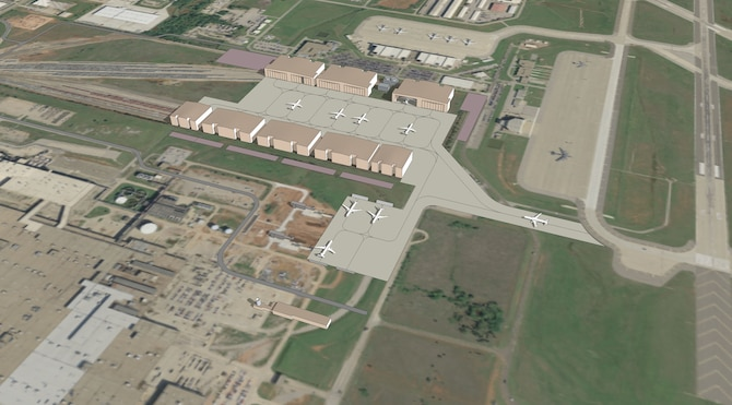 An artist's rendering of the future KC-46A Pegasus Maintenance Campus to be built at Tinker Air Force Base, Okla. On Feb. 3, 2015, the Air Force acquired the land for the campus. (U.S. Air Force illustration)