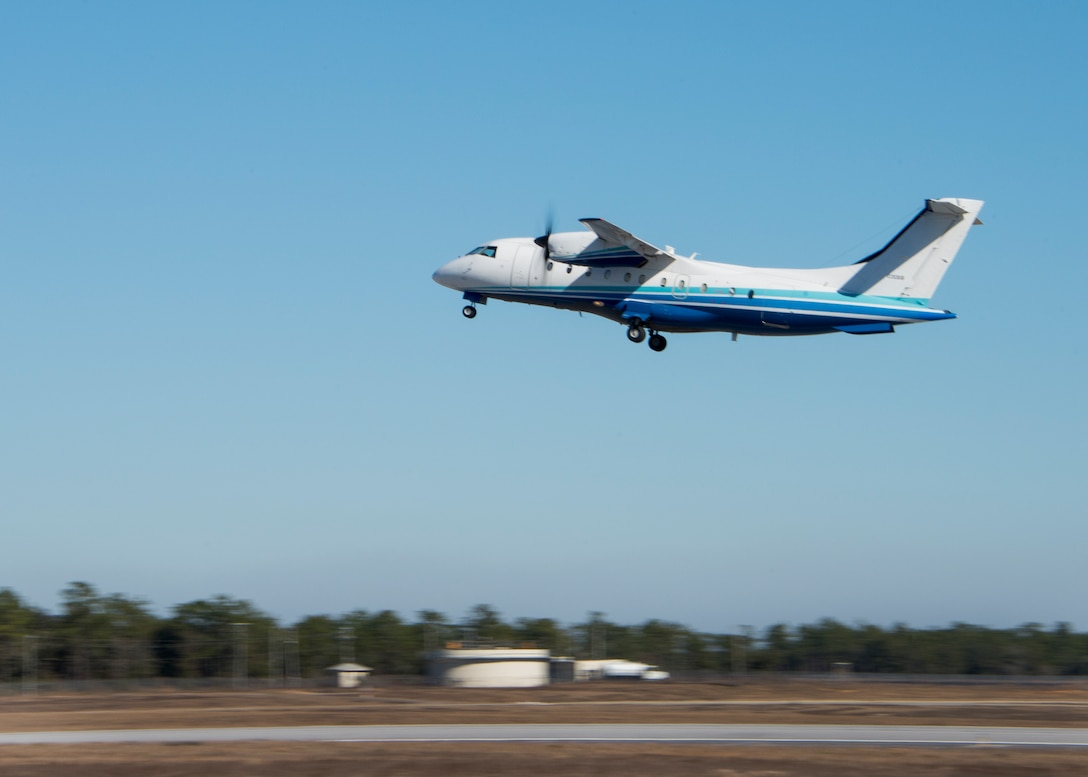 A C-146A lifts off from the 919th Special Operations Wing runway Jan. 28 at Duke Field, Fla.  The 5th Special Operations Squadron began training reserve and active-duty Airmen in the aircraft in December.  A new 919th SOW squadron dedicated to the Wolfhound will stand up in 2015.  (U.S. Air Force photo/Tech. Sgt. Jasmin Taylor)