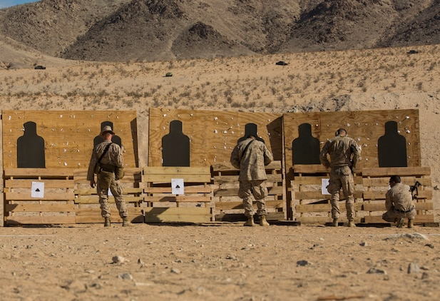 Marines check their battle sight zero Jan. 23 at Marine Air Ground Combat Center Twentynine Palms as part of Integrated Training Exercise 2-15. Marines must BZO their weapons before firing on any range, according to Lance Cpl. Colin M. Weathers, a Brockton, Massachusetts, native. Weathers is a rifleman with Headquarters Company, 4th Marine Regiment, 3rd Marine Division, III Marine Expeditionary Force. The Marines are also with 4th Marines.