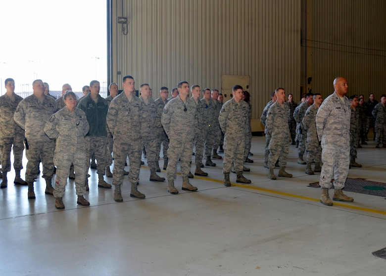 Members of the 131st Aircraft Maintenance Squadron stand in formation during Lt. Col. Matthew Calhoun's 131st AMXS Assumption of Command ceremony at Whiteman Air Force Base, Mo., Feb. 7, 2015.