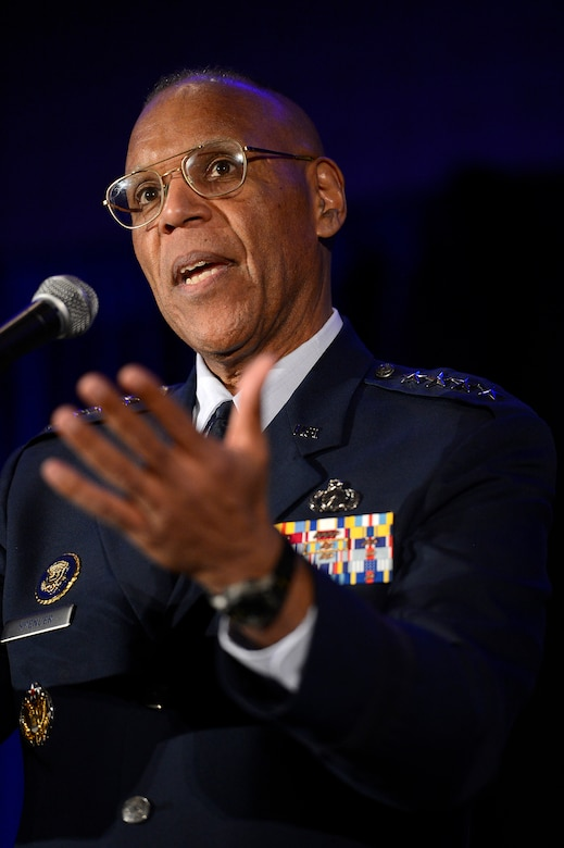 Air Force Vice Chief of Staff Gen. Larry O. Spencer welcomes several hundred high school students to the 29th Black Engineer of the Year Award Science, Technology, Engineering and Science Conference Feb. 5, 2015, in Washington, D.C. During the conference, Spencer and several general officers and senior executive service members led small mentorship groups. (U.S. Air Force photo/Scott M. Ash)