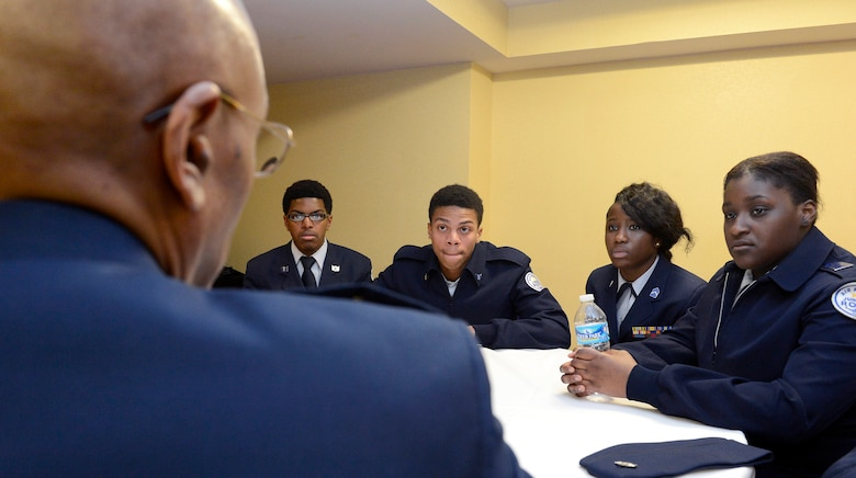 Air Force Vice Chief of Staff Gen. Larry O. Spencer speaks with a small group of high school students during the 29th Black Engineer of the Year Award Science, Technology, Engineering and Science Conference Feb. 5, 2015, in Washington, D.C. During the conference, Spencer and several general officers and senior executive service members led small mentorship groups. (U.S. Air Force photo/Scott M. Ash)