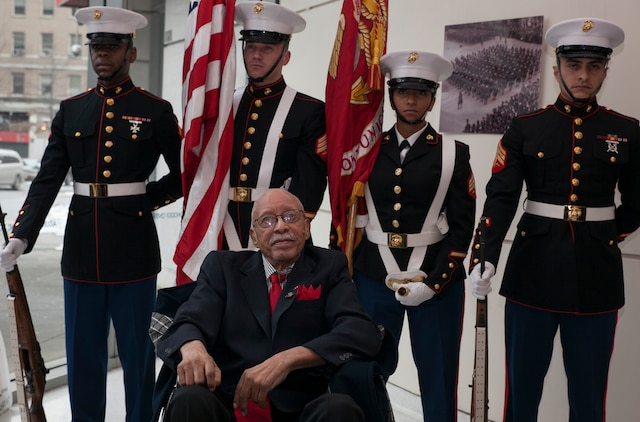 Hiram Knowles poses for a photo at the conclusion a ceremony to award him the Congressional Gold Medal on Feb.7, 2015. Knowles was one of over 400 Montford Point Marines to be awarded since2012. (U.S. Marine Corps photo by Cpl. Elizabeth Thurston)