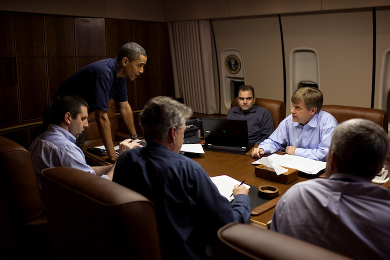 Michael McFaul (second from right) and other advisers brief President Barack Obama during a flight to Moscow on Air Force One July 5, 2009. McFaul, then the National Security Council's senior director for Russian Affairs, was the U.S. ambassador to Russia from December 2011 until February 2014 and is now director of Stanford's Freeman Spogli Institute for International Studies. McFaul spoke on U.S.-Russian relations at the Air Force Academy Assembly Feb. 3, 2015. (White House photo/Pete Souza)