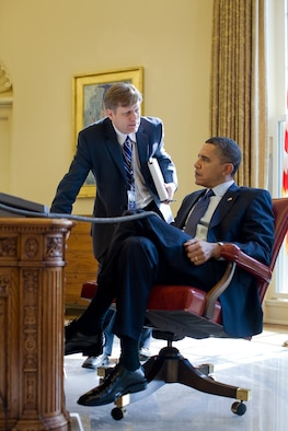Michael McFaul briefs President Barack Obama in the Oval Office Feb. 24, 2010. McFaul, then the National Security Council's senior director for Russian Affairs, was the U.S. ambassador to Russia from December 2011 until February 2014 and is now director of Stanford's Freeman Spogli Institute for International Studies. McFaul spoke on U.S.-Russian relations at the Air Force Academy Assembly Feb. 3, 2015. (White House photo/Pete Souza)