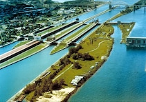 Soo Locks Aerial View from the Northwest