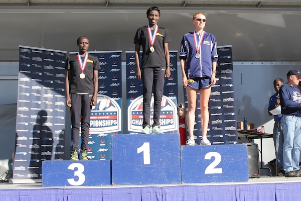 2015 Armed Forces Women medalists.  From left to right: Pfc. Susan Tanui (Army) Fort Riley, Kan.; Spc. Caroline Jepleting (Army) Landstuhl, Germany; Lt. Amanda Rice (Navy) ATSUGI, Japan  The 2015 Armed Forces Cross Country Championship was held conducted in conjunction with the USA Track and Field Winter National Cross Country Championship in Boulder, Colo. on Feb. 7.