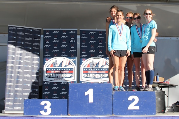 Air Force Women capture silver at the 2015 Armed Forces Cross Country Championship held conducted in conjunction with the USA Track and Field Winter National Cross Country Championship in Boulder, Colo. on Feb. 7  Air Force Team Members:  1st Lt. Katherine Ward, AF WCAP, Colorado Springs, Colo.; Lt. Col. Brenda Schrank, Joint Base Andrews AFB, Md.; 2nd lt. Magin Day, Ramstein AFB, Germany; Maj. Charlotte Portlock, U.S. Air Force Academy, Colo.; 2nd lt. Samantha Morrison, AF WCAP, Colorado Springs, Colo.; Capt. Cindy Dawson, U.S. Air Force Academy, Colo.