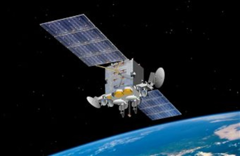 An artist's rendering of Advanced Extremely High Frequency satellite. (Courtesy photo/Space and Missile Systems Center)