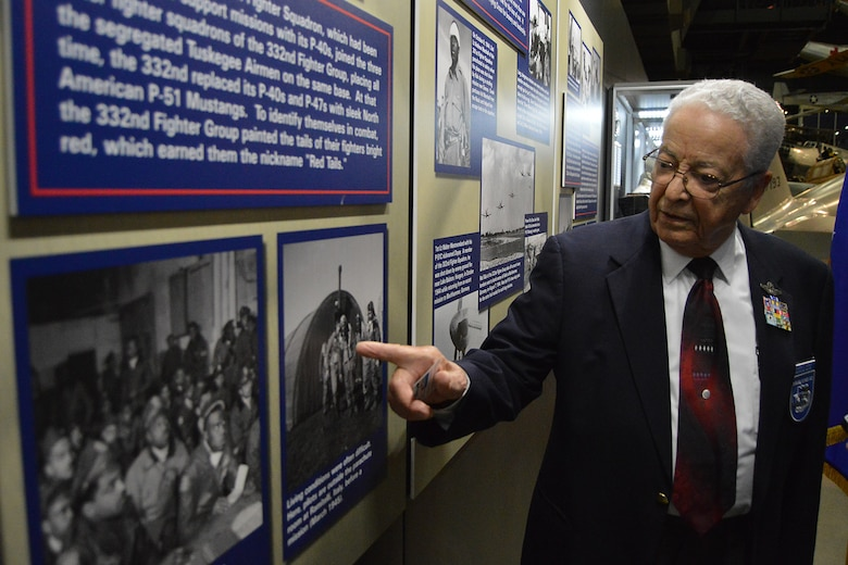 DAYTON, Ohio -- Tuskegee Airmen Lt. Col. (Ret.) George Hardy views the expanded Tuskegee Airmen exhibit in the WWII Gallery at the National Museum of the U.S. Air Force on Feb. 10, 2015. (U.S. Air Force photo)
