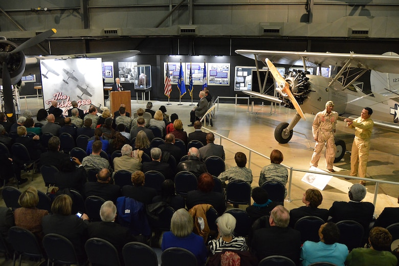 DAYTON, Ohio -- Tuskegee Airmen, families, friends and guests, gathered for the expanded Tuskegee Airmen exhibit opening in the WWII Gallery at the National Museum of the U.S. Air Force on Feb. 10, 2015. (U.S. Air Force photo)
