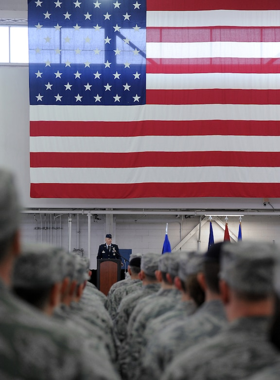 U.S. Air Force Col. Paul T. Fitzgerald, incoming commander 142nd Fighter Wing, gives his inaugural speech as  the new commander of the 142nd Fighter Wing during the Change of Command ceremony held Feb. 7, 2015, Portland Air National Guard Base, Ore. (U.S. Air National Guard photo by Staff Sgt. Brandon Boyd, 142nd Fighter Wing Public Affairs)