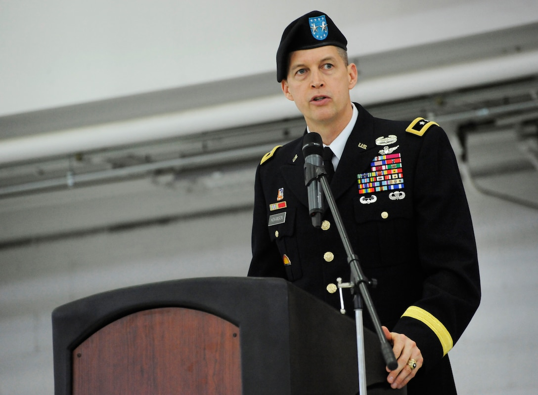 U.S. Army Maj. Gen. Daniel R. Hokansen, The Adjutant General, Oregon, addresses those in attendance during the Change of Command ceremony at the Portland Air National Guard Base, Ore., Feb. 7, 2015. (U.S. Air National Guard photo by Tech. Sgt. John Hughel, 142nd Fighter Wing Public Affairs)