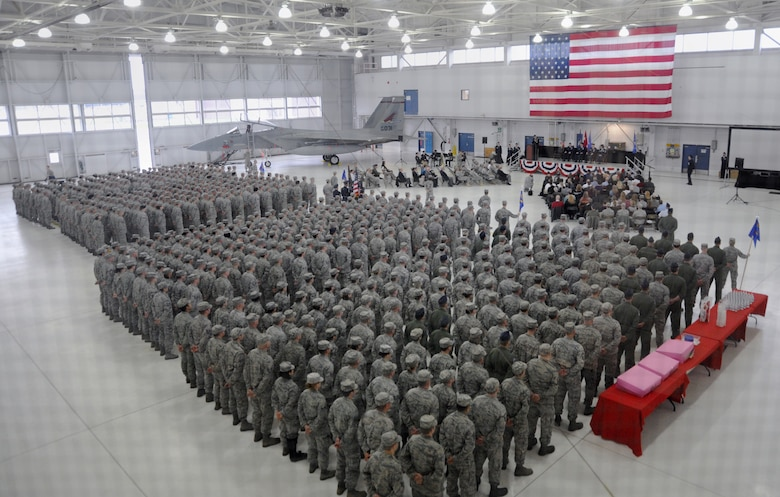 Airmen of the 142nd Fighter Wing assemble for the change of command ceremony held at the Portland Air National Guard Base, Ore., Feb. 7, 2015. Col. Paul T. Fitzgerald took command from Col. Richard W. Wedan who is retiring from the Air Force after 27 years of military service. (U.S. Air National Guard photographs by Tech. Sgt. Aaron Perkins, 142nd Fighter Wing Public Affairs)
