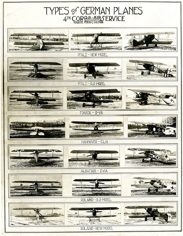 This aircraft recognition collage, created by the 4th Photo Section, IV Corps Observation Group, assisted AEF personnel in identifying different types of operational German aircraft. (U.S. Air Force photo)