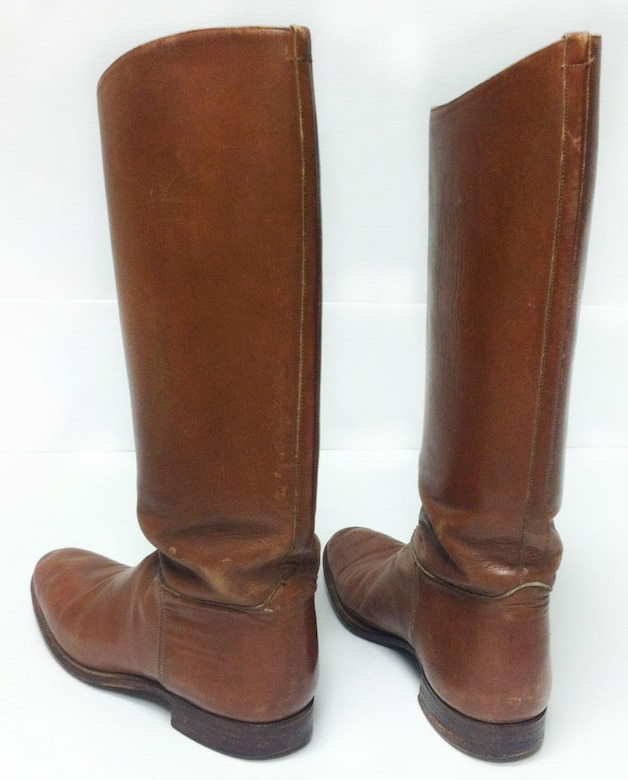 Leather riding boots were worn by members of the U.S. Cavalry Units during World War I. The tall shafts of these riding boots helped to protect cavalry soldiers' lower legs from debris kicked up by their horses, as well as protecting from riding impact against their horses. Horses were used during WWI for logistical support and reconnaissance, as well as for pulling equipment such as field guns, supply wagons and ambulances. (U.S. Air Force photo)