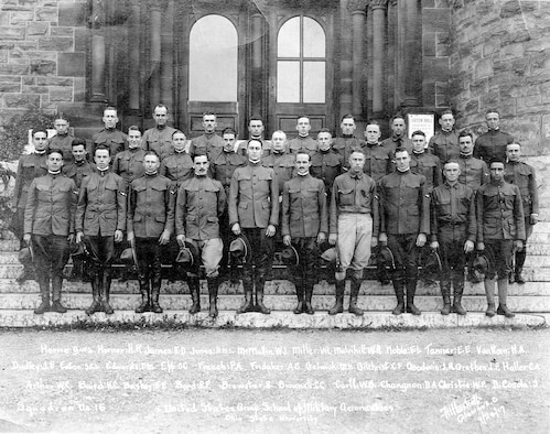 As World War I continued throughout Europe, it quickly became apparent that there was a shortage of trained pilots in the United States. The War Department and the U.S. Army formed the Aviation Cadet Training Program, and commissioned six universities across the country to open aviation schools. The Ohio State University opened the School of Military Aeronautics in May 1917. This photograph of Squadron No. 16 was taken on Sept. 24, 1917, on the steps of Orton Hall.