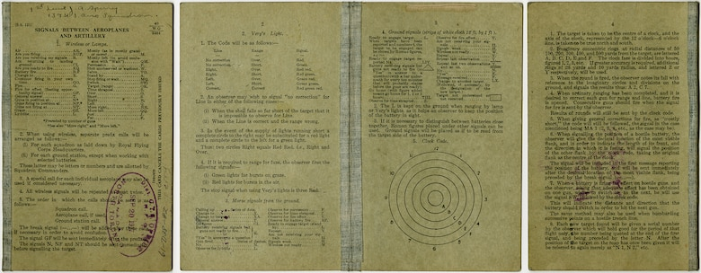 This Royal Flying Corps instruction book and signal guide was produced on heavy card stock and provided quick reference for pilots and observers directing artillery fire by airplane. This guide belonged to Lt. John A. Sperry, a pilot with the 139th Aero Squadron. In August 1918, Sperry was reassigned to the 22nd Aero Squadron and became one of the unit's first flight commanders. On Aug. 21, 1918, Sperry, flying his SPAD XIII, made the squadron's first combat patrol in preparation of the approaching St. Mihiel offensive. (U.S. Air Force photo)