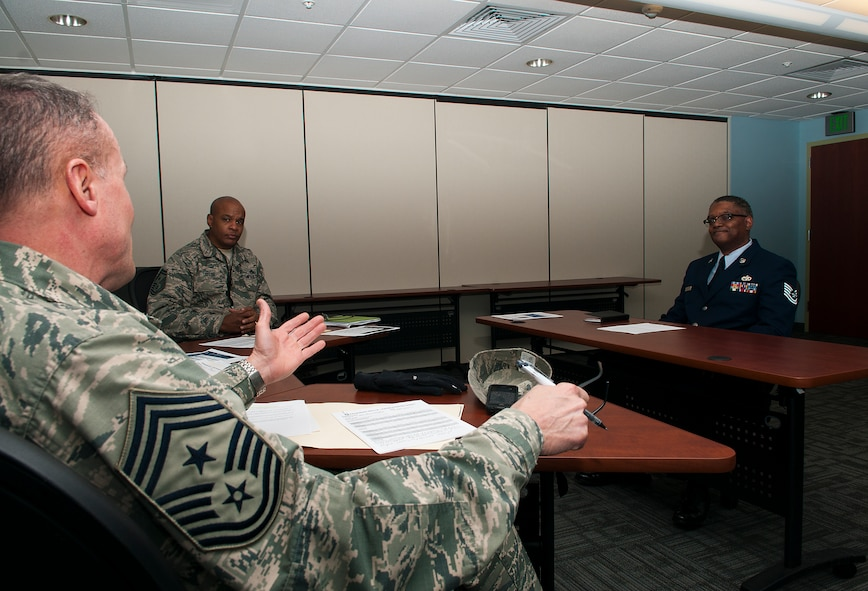 Command Chief Master Sgt. Eric Wallace, 121st Air Refueling Wing, interviews Master Sgt. Earl Walker, 121st Logistic Readiness at Rickenbacker Air National Guard Base, Ohio, Feb. 7, 2015. Members of the 121st Air Refueling Wing participated in a mock board interviews during the February UTA. (U.S. Air National Guard photo by Tech. Sgt, Zachary Wintgens/Released)
