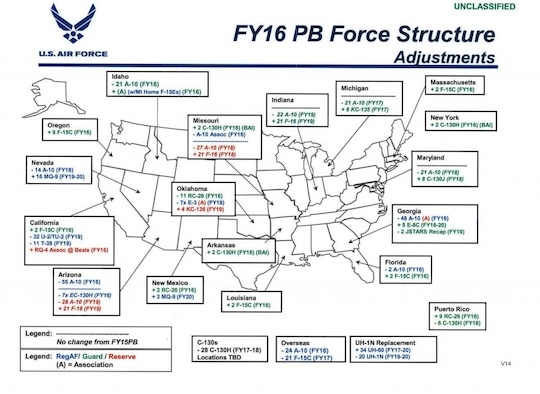 AF officials announce FY16 budget force structure changes. (U.S. Air Force graphic)