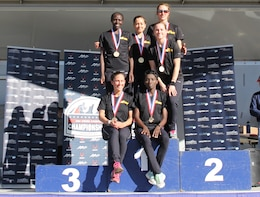 Army women take gold in the 2015 Armed Forces Cross Country Championship held conducted in conjunction with the USA Track and Field Winter National Cross Country Championship in Boulder, Colo. on Feb. 7.  Army team members:  Spc. Caroline Jepleting, Landstuhl, Germany; Pfc. Susan Tanui, Fort Riley, Kan.; 1st Lt. Clelsea Prahl, Joint Base Lewis-McChord, Wash.; Maj. Emily Potter, Fort Bragg, N.C.; Capt. Meghan Curran, Joint Base McGuire-Dix-Lakehurst, N.J.; Capt. Ashley Hall, Fort Benning, Ga.