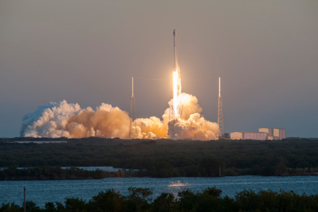 The 45th Space Wing supported  Space Exploration Technologies' (SpaceX) successful launch of their Falcon 9 launch vehicle  carrying  NASA's  Deep Space Climate Observatory -- known as the DSCOVR mission -- at 6:03 p.m. from Launch Complex 40 here Feb. 11, 2015, at Cape Canaveral Air Force Station. (Photo/SpaceX)