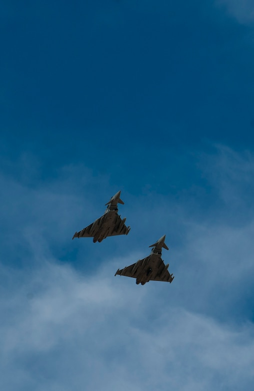 Two Royal Air Force Typhoon FGR4s assigned to 1 (Fighter) Squadron, RAF Lossiemouth, Scotland, prepare to land during Red Flag 15-1 at Nellis Air Force Base, Nev., Feb. 6, 2015. All four branches of the U.S. military and air forces from allied nations have participated in Red Flag. The training is conducted to familiarize forces to work together in future real-world operations. (U.S. Air Force photo by Senior Airman Thomas Spangler)